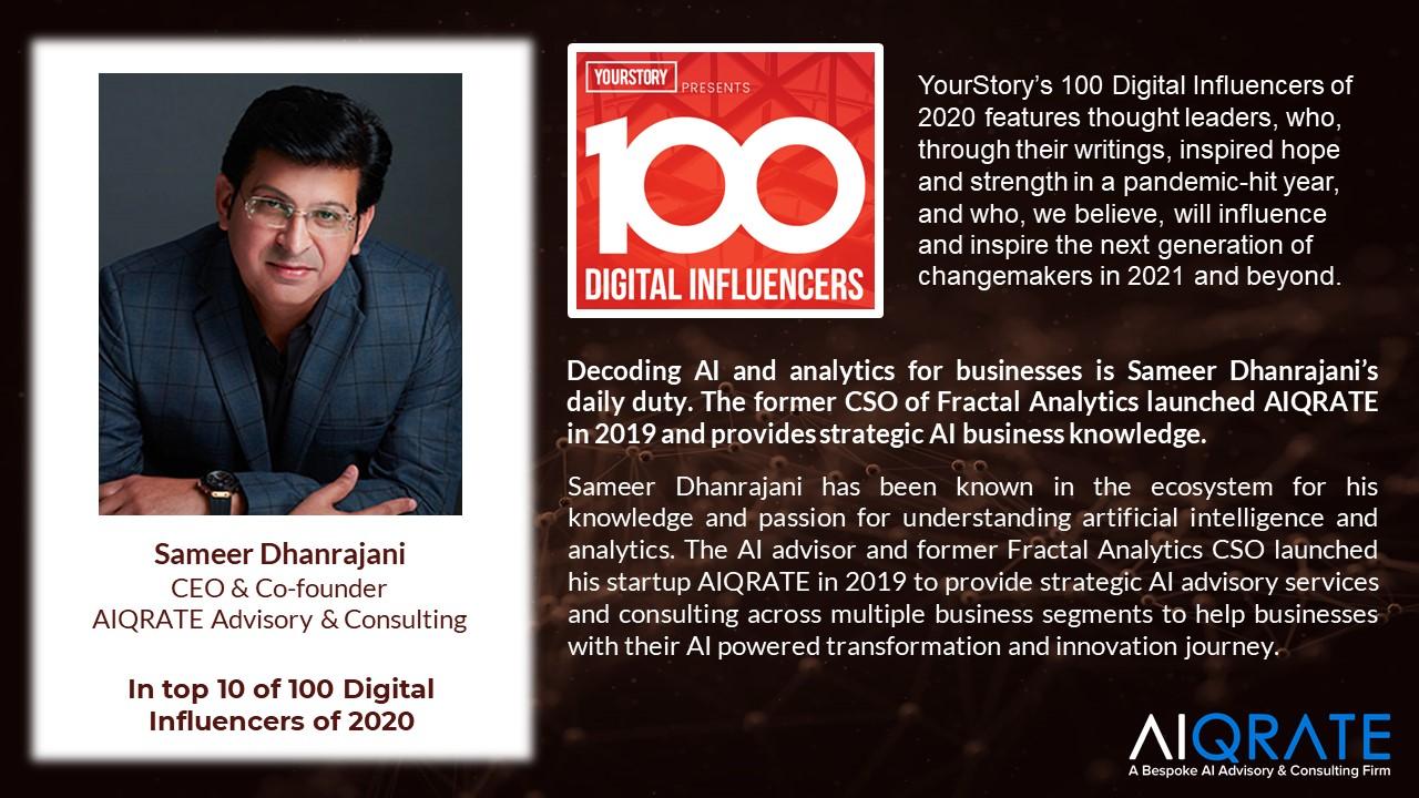 Sameer Dhanrajani in Top 10 of 100 Digital Influencers of 2020