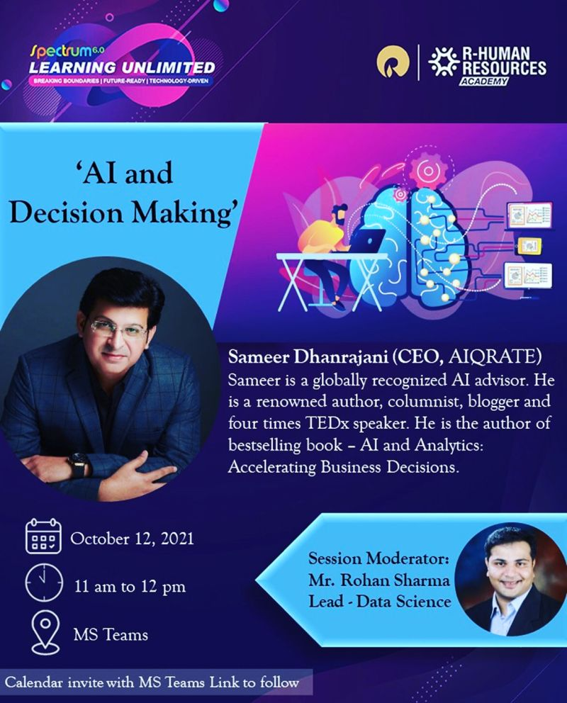 AI & Decision Making session at Spectrum 6.0 Learning Unlimited event at Reliance Industries Limited
